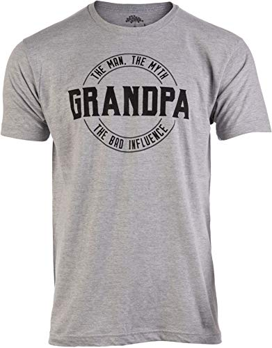 Grandpa: Man, Myth, Bad Influence | Funny Dad Joke Papa Grandfather Humor Shirt for Men T-Shirt-(Adult,2XL) Heather Grey