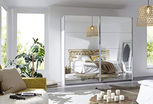 Rauch Möbel Caracas Schrank Schwebetürenschrank Weiß mit Spiegelfront 2-türig inkl. Zubehörpaket Premium 6 Einlegeböden, 2 Kleiderstangen, 1 Hakenleiste, Türdämpfer-Set, BxHxT 226x210x62 cm