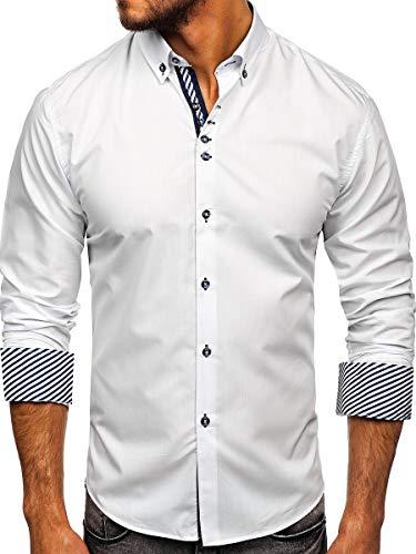 BOLF Hombre Camisa De Manga Larga Abotonada Cuello Americano Camisa de Algodón Slim Fit Estilo Elegante 5796 Blanco XXL [2B2]