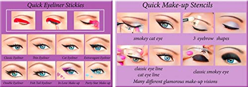 2en1 ORIGINAL Quick Eyeliner Stickies SET COMPLET, 80 pcs. + Pochoirs de maquillage rapides, 3 pièces Pochoirs de maquillage pour les yeux