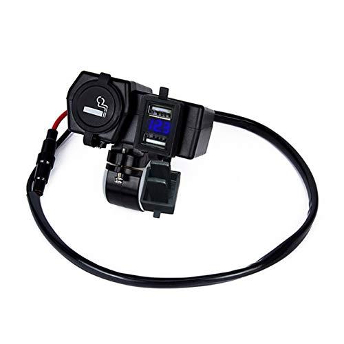 RJJX 12-24V Socket 4 en 1 Dual USB Cargador de Motocicletas Empresa Impermeable Cigarette Encendedor de Cigarrillos Cargador móvil con voltímetro LED iluminación (Color Name : Blue)