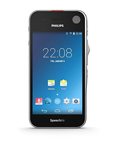 Philips PSP1200 SpeechAir Diktiergerät mit Schiebeschalter auf Android Basis, Touchscreen, Kamera, optimiert für Spracherkennung, WLAN, Bluetooth, Schwarz