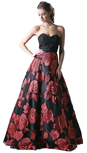 Meier Women's Strapless Rosette Embroidery Evening Ball Gown Size 4 Black Red