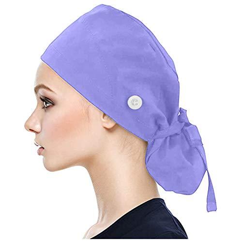 Sallyohno Unisex Haarpflege Hüte Schönheit Hüte mit Knöpfen Arbeitshüte Haarabdeckungen Bartabdeckungen Krankenschwester Cap Peeling Kappe Staubmütze,Cotton Fabric (Blue)