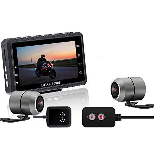 BaiTTang Cámara Dashcam de la Motocicleta, 1080p 30fps de Doble ángulo de Doble ángulo 140 ° Deportivo Anti-agitación Impermeable, Pantalla IPS, Pantalla IPS, WiFi Propio, Pista GPS, G-Sensor
