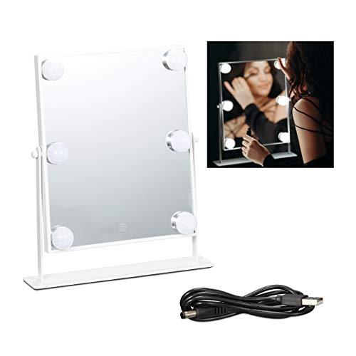 Relaxdays Hollywood Spiegel mit LED Beleuchtung, Touch-Steuerung, 3 Lichtstufen, 6 Glühbirnen, Batterie oder USB, weiß, 1 stück, 10028680_49