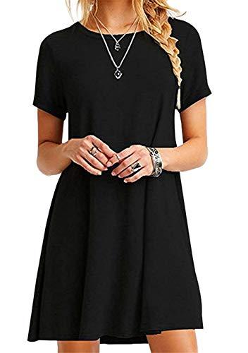 OMZIN Damen Kurzarm Casual Sommerkleid Strandkleid T-Shirt Flowy Kurzes Kleid Schwarz XS