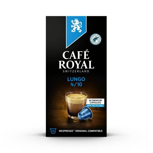 Café Royal Lungo 10 Nespresso®* kompatible Kapseln (aus Aluminium, Intensität 4/10), 1er Pack (1 x 10 Kaffeekapseln)