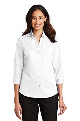 Port Authority Ladies 3/4-Sleeve SuperPro Twill Shirt 4XL White