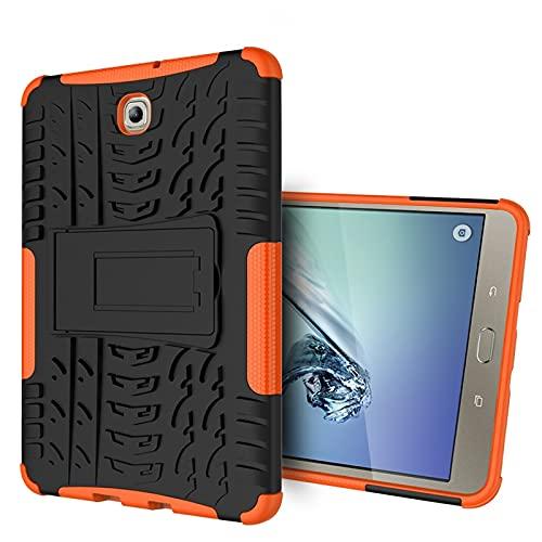 BAOFA Tablet PC Shell Cubierta de Tableta para Samsung Galaxy Tab S2 8 Pulgadas / T710 Textura de neumáticos TPU + PC Funda Protectora con Soporte de Mango Plegable Funda Protectora (Color : Orange)