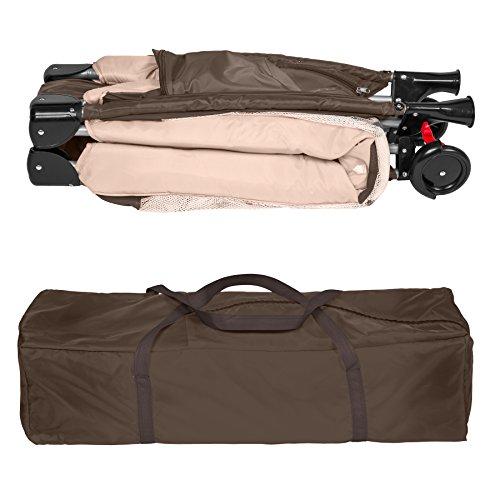 TecTake Kinderreisebett mit Schlafunterlage und praktischer Transporttasche - diverse Farben - (Coffee | Nr. 402417) - 6