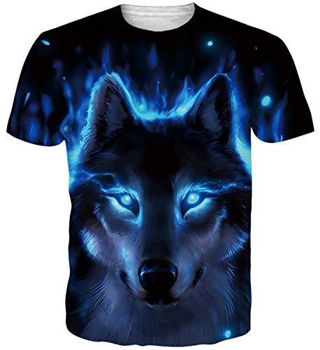 Adicreat Unisex-T-Shirt mit Motiv im 3D-Druck, kurzärmelig, cooles T-Shirt Gr. XXL, 1 Wolf Blau