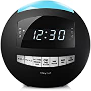 8-in-1 Bluetooth Digital Desk Alarm Clock FM Radio with Large Dimmable LED Display and Multi-Color Night Light, Stereo Speaker, Sleep Timer, Snooze ¡