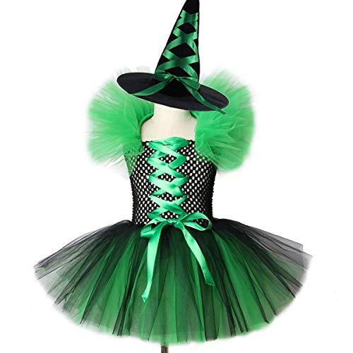 IBAKOM - Disfraz de bruja para nios, disfraz de bruja para Halloween, carnaval, cosplay, con cordones