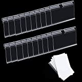 50pcs Clear Plastic Label Holders Clip On Sign Display Holder for Wire Shelf Price Card Tag, Transparent Label Holders with Papers Labels Clip On for Storage Bins, Basket 6x4cm