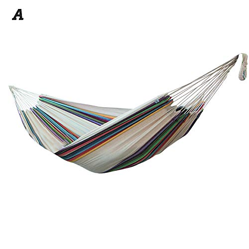 Peitten Double Cotton Hammock with Stand Large Hanging Swing Chair Hammock with Steel Stand for Outdoor Garden Patio Courtyard Indoors/without Shelf