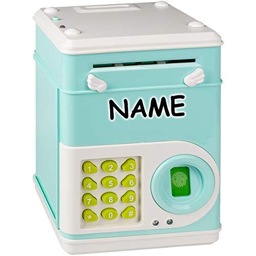alles-meine.de GmbH elektronische Spardose - mit Fingerabdruck + Zahlenkombination / Passwort + Sound + Licht - incl. Name - digitaler Tresor Sparschwein für Kinder Familienkass..