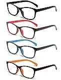 TISHUI Pack de 4 Gafas de Lectura 1.75 Gafas para Presbicia Hombres Mujeres,Plaza masculina y femenina con bisagras de muelle