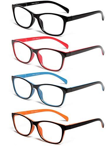 TISHUI Pack de 4 Gafas de Lectura 1.5 Gafas para Presbicia Hombres Mujeres,Plaza masculina y femenina con bisagras de muelle