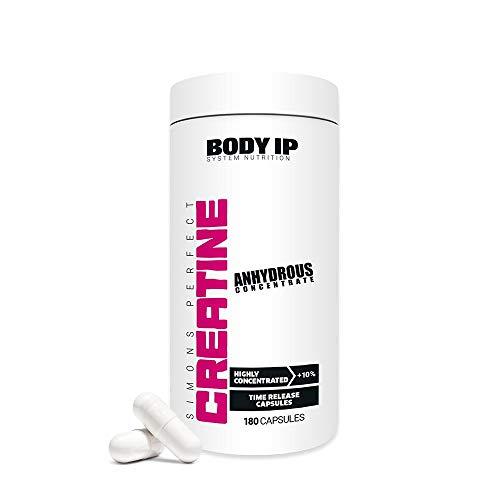 BODY IP Simons Perfect Creatine Anhydrous 180 Kapseln | Hochkonzentriertes Kreatin für den Muskelaufbau, Kraftsteigerung und Regeneration