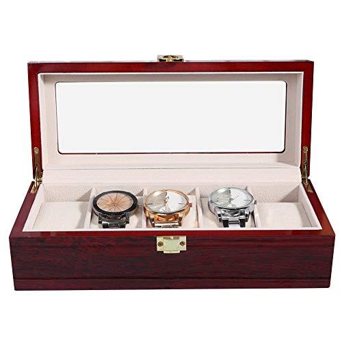 Lv. life Uhren-Display-Box, 5-Gitter-Uhren-Display-Box aus Holz Transparentes Fenster rutschfeste Uhren-Aufbewahrungsbox