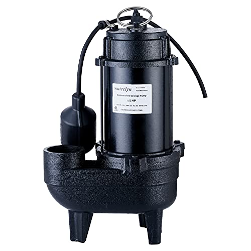 Wateclyn 1/2 HP Cast Iron Submersible Sewage Ejector Pump, Sewer Pump, Septic Tank...