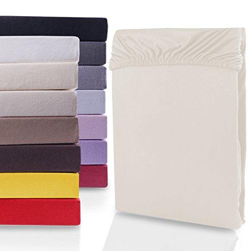 """#3 DecoKing Jersey Spannbettlaken, Spannbetttuch, Bettlaken, """"Nephrite Collection"""", 80x200 cm - 90x200 cm, Beige"""