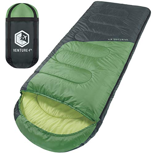 3-Season Sleeping Bag, Single, Regular Size - Lightweight, Comfortable, Water Resistant Backpacking Sleeping Bag for Adults & Kids - Ideal for Hiking, Camping & Outdoor Adventures – Green/Gray