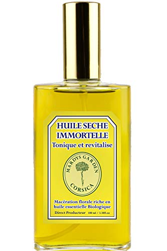 Aceite Seco Natural Siempreviva Amarilla (Helychrisum Italicum) y Mirto (Mirtus Communis) 100ml. Multifunción Cuerpo, Pelo, Cara. Rica en aceites esenciales