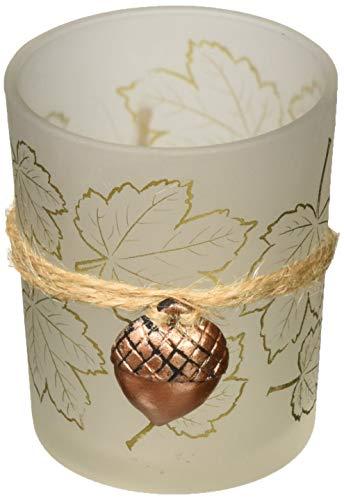 Kate Aspen Leaf Print Tea Light Holder with Acorn Charm (Set of 4), Frosted/Gold/Copper