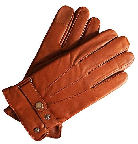 AKAROA ESTD 2019 Lederhandschuhe Herren RON, italienisches Haarschafleder, Touchfunktion, Strickfutter aus 50% Kaschmir und 50% Wolle, cognac XL