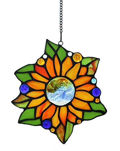"FBOSS Tiffany Style Sonnenblumenglas Ornament SunCatcher Glasfenster, 6 1/2""x 6"""