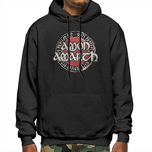 Tengyuntong Amon Amarth Men's Hoodie, Hooded Sweatshirt, Casual Hooded Drawstring Sweatshirts with Pocket - Black - Small