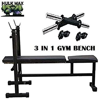 Rjkart Pipe Size 2x2 Inch Workout with 3 in 1 Gym Bench with dumble Rod