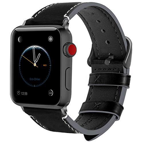 Fullmosa Cinturino per Apple Watch 38mm/40mm e 42mm/44mm, Wax Cinturino in Pelle per iWatch, Compatibile con Apple Watch Serie SE 6 5 4 3 2 1, per Uomo e Donna