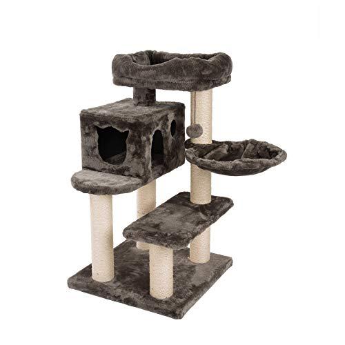 JAMAXX Premium Katzenbaum XXL H90cm, Stabil, Extra-Starke Bodenplatte und Dicke Stämme, Kuschelig-Weiches Soft-Plüsch, Höhle und Kuschel-Körbchen, PCT6008 braun