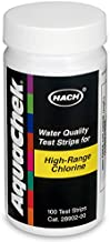Hach 2890200 Aquachek Free Chlorine Test Strip, 0-600 mg/L