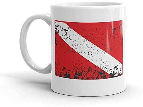 DJNGN Taza de café divertida Taza de té Taza con bandera de buceo impresionante - Buzo de buceo con efecto envejecido DAN PADI BASI