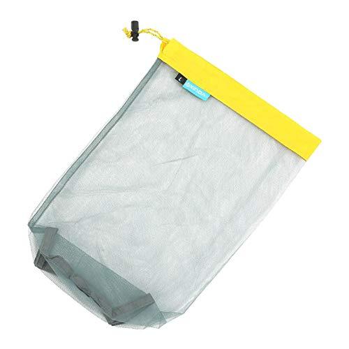 lahomia Bolsa de almacenamiento con cordón para cosas al aire libre, bolsa de almacenamiento de malla ultraligera para deporte de Camping, herramienta de - Amarillo L