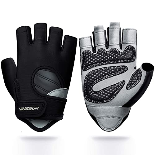 Vinsguir Workout Gloves for Men & Women, Lightweight Breathable Gym Gloves, Exercise Weight Lifting Gloves, Cycling Gloves Curved Open Back for Fitness, Training, Climbing, Dumbbell, Kettlebell