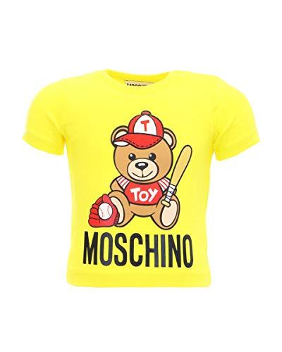 Moschino T-Shirt Rundhalsausschnitt, Kurzarm, Verschluss mit Clip auf der Schulter, Logo-Aufdruck Teddy Bear Spieler-Baseball auf der Vorderseite, Gelb 86 cm (18-24 Monate)