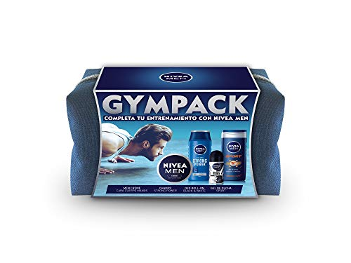 NIVEA MEN Neceser Gimnasio Gympack, neceser de regalo con gel de ducha (1 x 250 ml), champú (1 x 250 ml), desodorante roll on (1 x 50 ml) y NIVEA MEN Creme (1 x 75 ml)