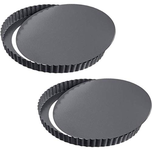 WENTS Tarteform Quicheform 22cm Quiche Tart Pfanne, abnehmbare Loose Bottom Tart Pie Pan Nonstick Round Tart Torte Baking Pan,Obstkuchenform und Backform 2 Pack