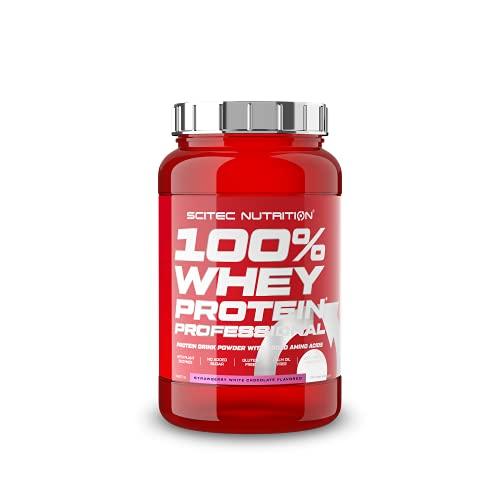 Scitec Nutrition 100% Whey Protein Professional con aminoácidos clave y enzimas digestivas adicionales, sin gluten, 920 g, Fresa-Chocolate blanco