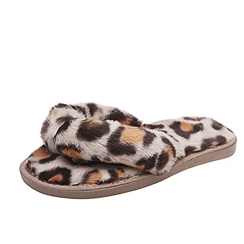 Zapatillas de leopardo cruzadas para el hogar, zapatillas de algodón de felpa de moda con punta abierta para el hogarSandalias chanclas de tacón cuña antideslizantes
