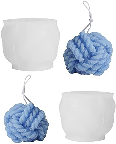 ZGHYBD 2 Pcs Aromatherapy Yarn Ball Candle Mold,Silicone 3D Knitted Ball Candle Mold,DIY Candle Mold Yarn Ball Silicone Mould,for Cake Decorating Tool
