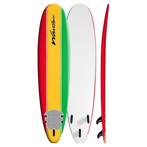 Wavestorm 8ft Classic Longboard Surfboard (Tri-Color Solid)