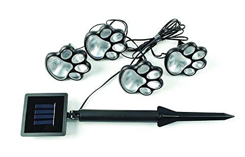 4Stück–Lampen-Garten Solar LED in Form von Pfoten.