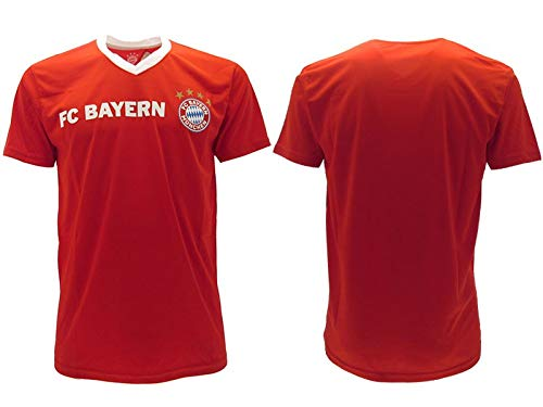 FC BAYERN MONACO Champion's City Maglietta Replica UfficialeRosso Scudo Ufficiale - Prodotto sotto Licenza Club (14 Anni Bambino)