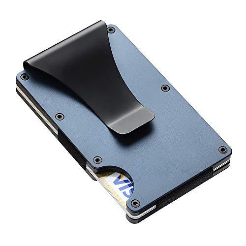 SEMLIMIT Premium Kartenetui Blau - Geldklammer NFC & RFID Schutz - Geldbörse Herren für 1 bis 15 Kreditkarten | Gratis E-Book (blau)